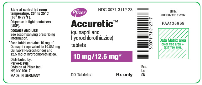 PRINCIPAL DISPLAY PANEL - 10 mg/12.5 mg Tablet Bottle Label - NDC 0071-3112-23