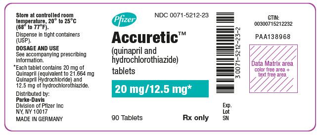 PRINCIPAL DISPLAY PANEL - 20 mg/12.5 mg Tablet Bottle Label - NDC 0071-5212-23