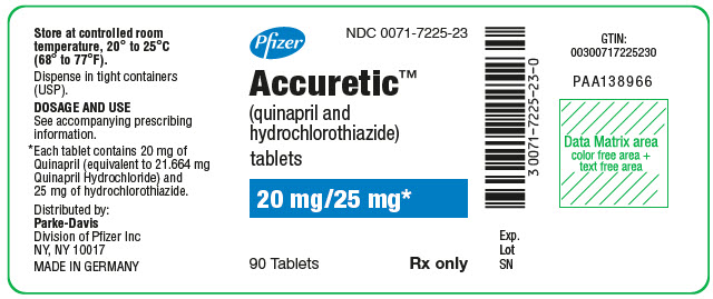 PRINCIPAL DISPLAY PANEL - 20 mg/25 mg Tablet Bottle Label - NDC 0071-7225-23